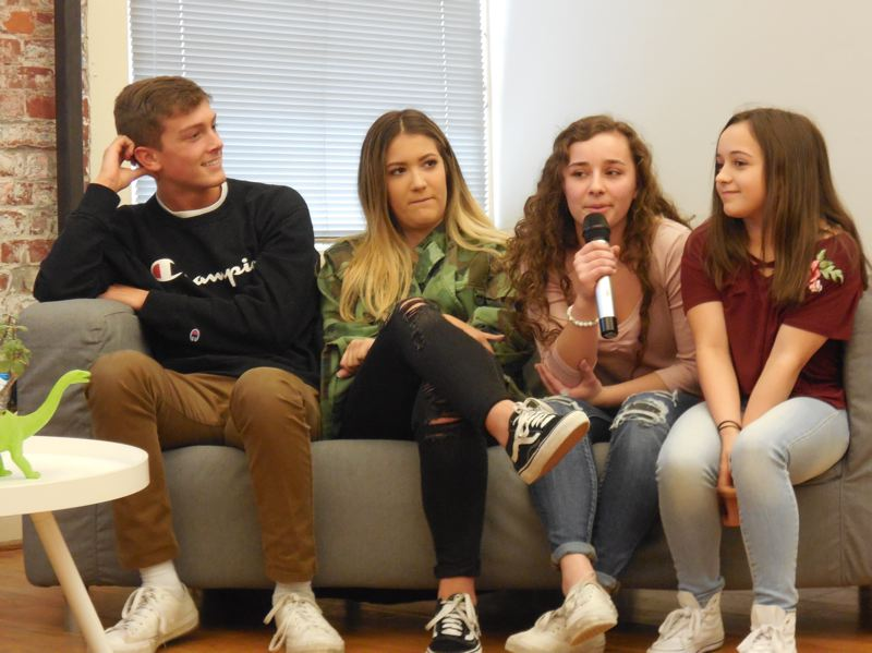 PHOTO: ELI CAUDILLO, EROI  - Gen Z-ers (left to right) Brady, Maya, Katy and Sophie, who talked confidently about their likes and dislikes in goods and services but less so about design.