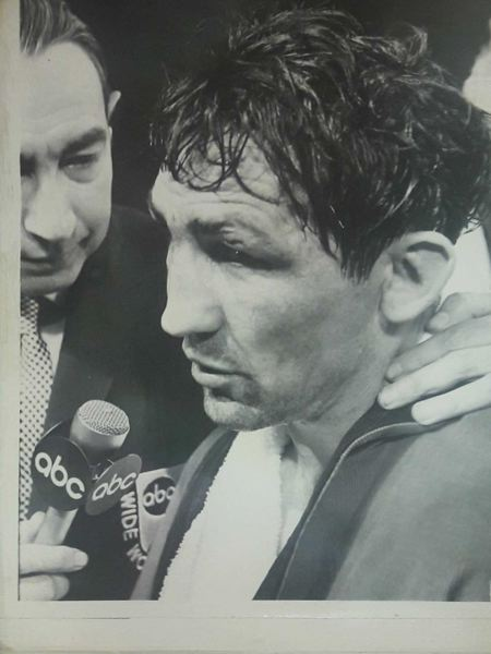 IMAGE COURTESY OF BOBBIE KENDALL - Andy Kendall, The Scappoose Express, talks with ABC Wide World of Sports announcer Howard Cosell following a fight. Kendell challenged for the world light heavyweight title May 24, 1969.