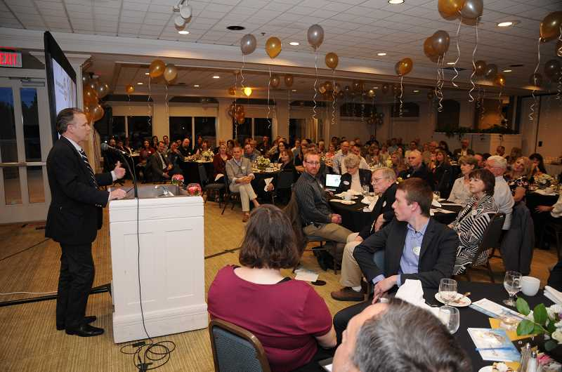 PHOTO BY MARK DERRY - Canby School District Superintendent Trip Goodall emceed for the night.