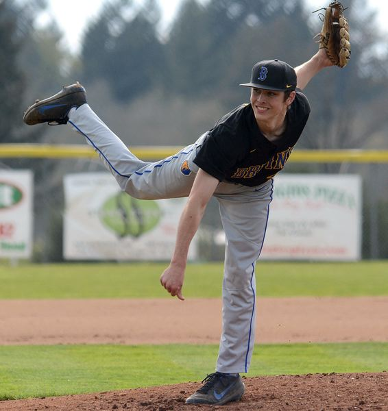 OUTLOOK PHOTO: DAVID BALL - Barlow pitcher Stuart Weber went the distance against Oregon City on Friday, retiring the side in order three times during the Bruins' 5-0 win at Oregon City.