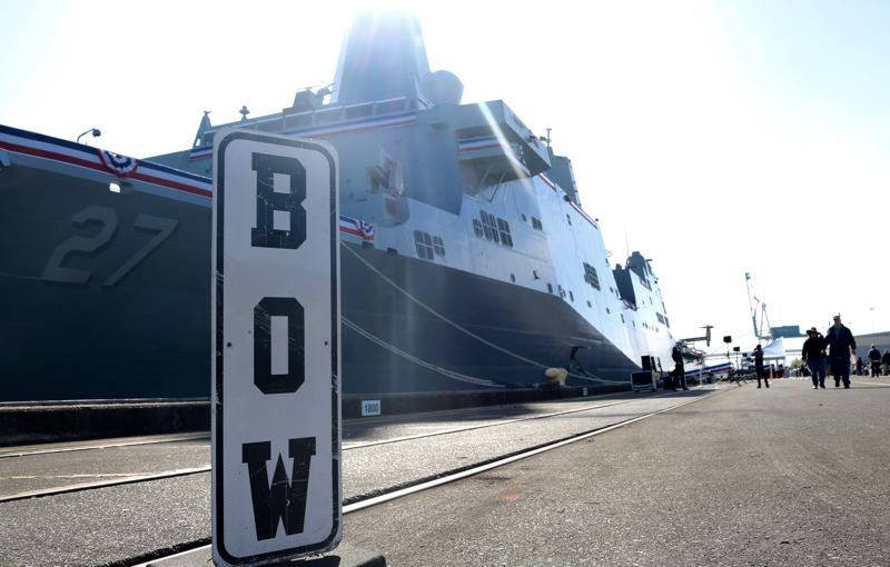 TRIBUNE PHOTO: ZANE SPARLING - The vessel Portland officially became a United States Ship after a commissioning ceremony on Saturday, April 21 at Terminal 2 in the Rose City.