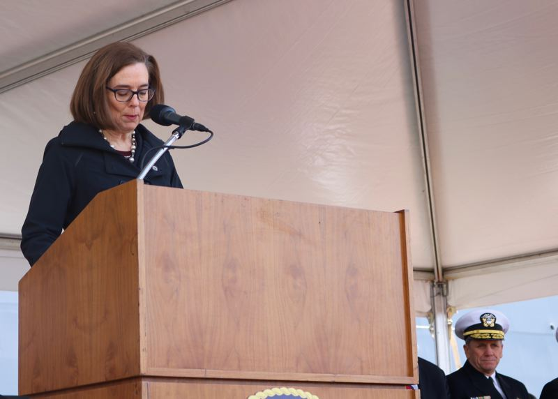 TRIBUNE PHOTO: ZANE SPARLING - Gov. Kate Brown noted that 'freedom isn't free' during a commissioning ceremony for the USS Portland on Saturday, April 21.