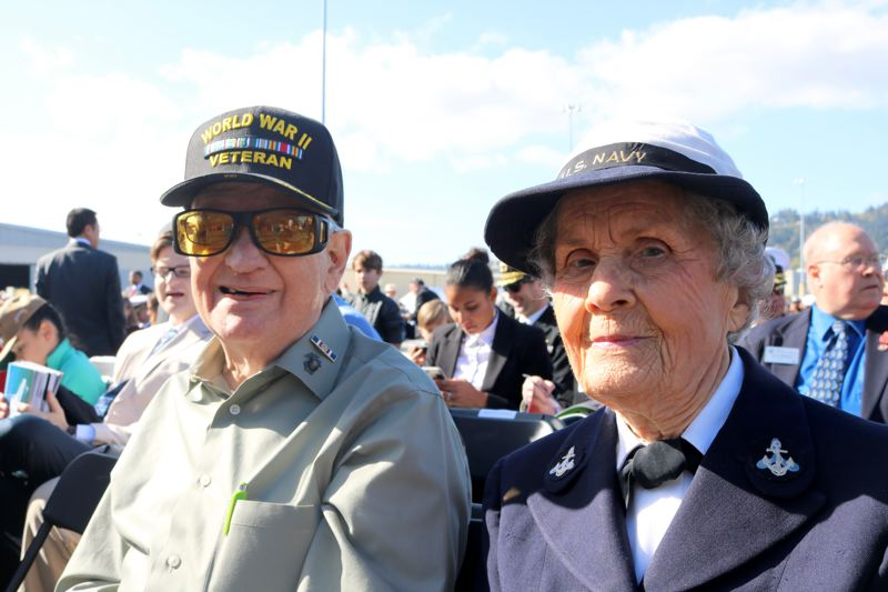 TRIBUNE PHOTO: ZANE SPARLING - Organizers said they thought hospital corpsman Joe Bruer and control tower operator Margaret Lutz were the only veterans of World War II in attendance.