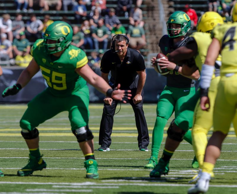 COURTESY: ANDY NELSON/THE REGISTER-GUARD - Oregon coach Mario Cristobal observes the action during Saturday's Spring Game.