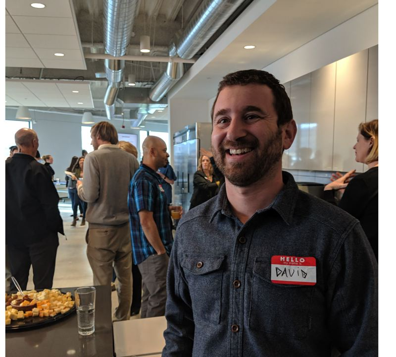 PAMPLIN MEDIA GROUP: JOSEPH GALLIVAN - Adpearance CEO and co-founder David Steinberg welcomes the public, and job seekers, to his firm's open house during Design Week Portland 2018. The marketing software firm has taken a floor in the newly opened Field Office development on Northwest Front Ave.