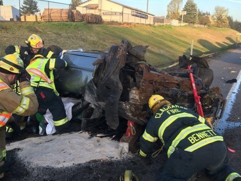 CLACKAMAS FIRE - Firefighters extracted the victim from a rollover crash.