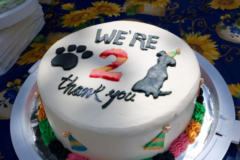 VALLEY TIMES PHOTO: ZANE SPARLING - This cake suitable for canine consumption was donated by Sugah's Cookies, a bakery in Damascus.