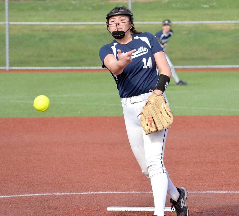 SPOKESMAN PHOTO: TANNER RUSS - Senior Kailey Krueger had seven strikeouts from the mound against St. Helens, and chipped in a run and three RBIs as well. Wilsonville defeated St. Helens 5-1 on Friday, April 20.