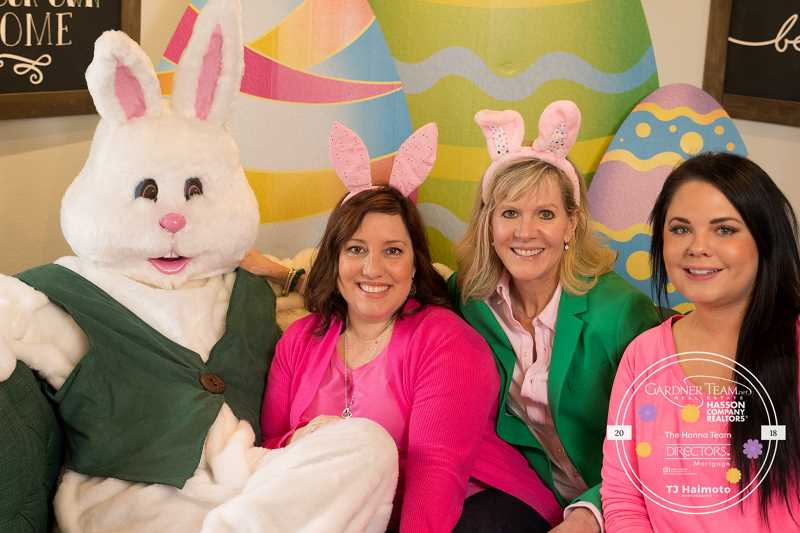 COURTESY: GARDNER TEAM REAL ESTATE - The Easter Bunny, Amber Gardner with Gardner Team Real Estate, Julie Long with Directors Mortgage and Kirsten Meis of Omnia Salon all took part in Gardner Team Real Estate's Spring Bunny Bash, a fundraiser for Sherwood High School Grad Night.