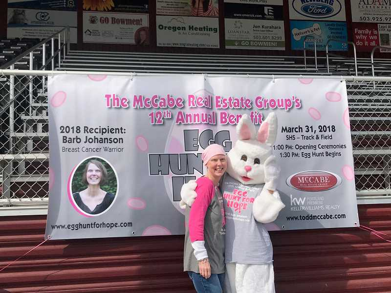 COURTESY: LESLIE MCCABE - Over $32,000 was raised for Barb Johanson, a local Sherwood resident who is battling breast cancer, at the 12th annual Egg Hunt For Hope.
