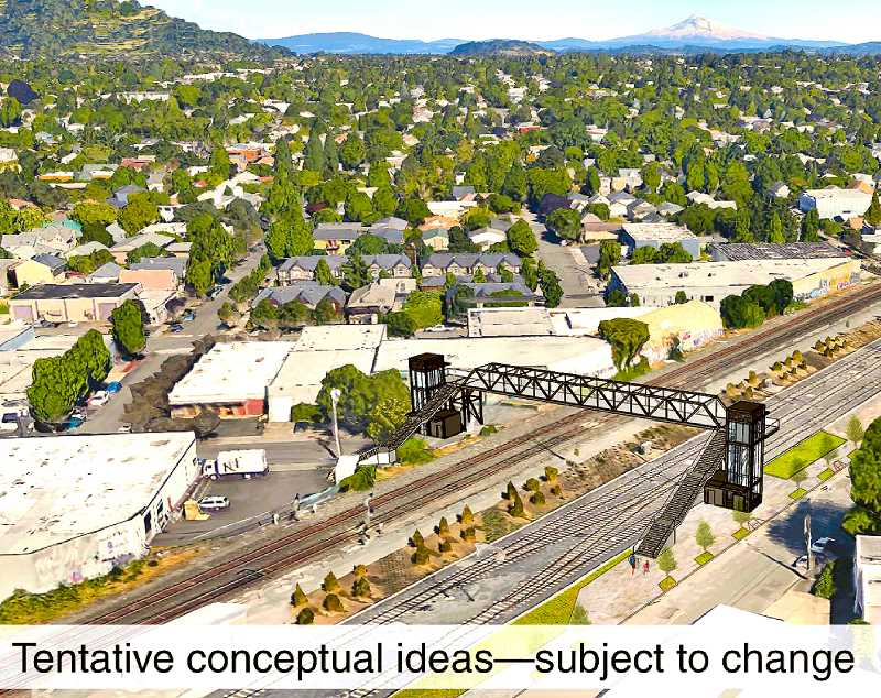 COURTESY OF TRIMET - This conceptual rendering of possible Gideon Street Bridge options was provided by TriMet.