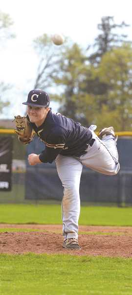 HERALD PHOTO: TANNER RUSS - Canby junior and starting pitcher Sean Wiese had a strong showing from the mound against league foe Lakeridge. The Cougars picked up their first TRL win 7-0 against the Pacers on Wednesday, April 20.