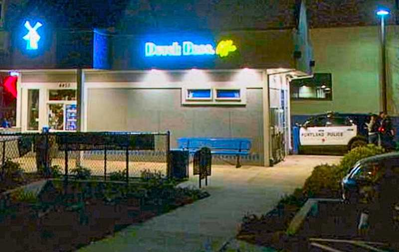 COURTESY KATU-TV-2 NEWS - Police investigated an unsuccessful holdup at the Dutch Bros. coffee drive-thru on S.E. Holgate Boulevard at 26th.
