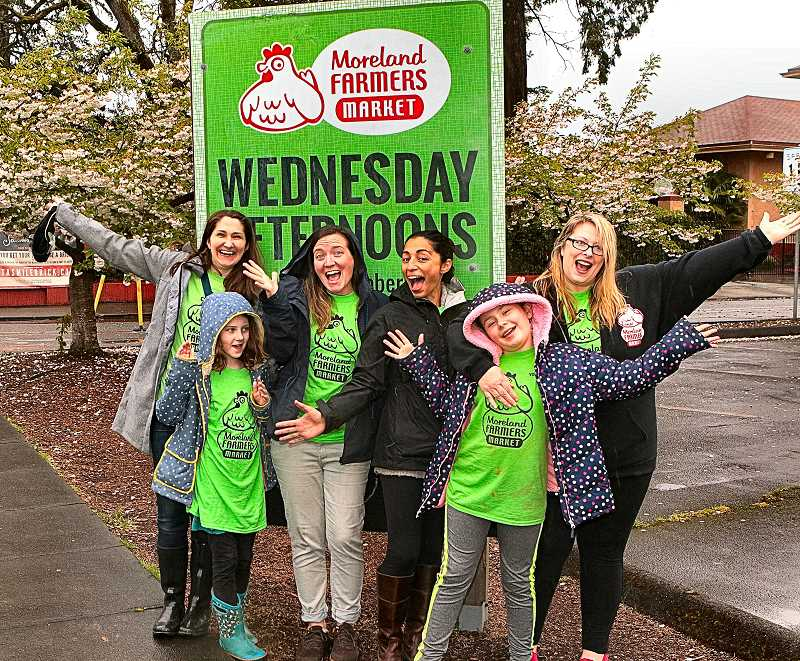 DAVID F. ASHTON - Moreland Farmers Market volunteers and supporters Brooke Fitchen, Tagan and Michelle Rork, Allison Lugo Knapp, Dania Kali, and Market Manager Lannie Kali all show theyre thrilled to have one more year at the same location this year.