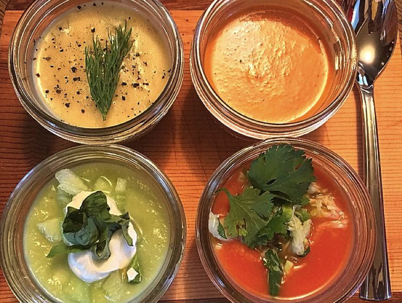 COURTESY PHOTO: SIMMER & SLURP - Owner and 'soup composer' Rachel Weil of Simmer & Slurp in Forest Grove has close to 50 soup recipes, such as these four 'summer soups,' that she plans to offer on a rotating basis at her new food cart.
