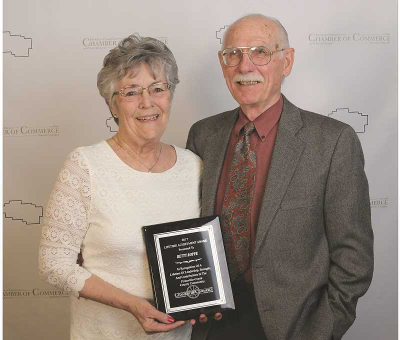 PHOTO COURTESY OF JASON DARRAH  - The Prineville-Crook County Chamber of Commerce recently honored Betty Roppe with its Lifetime Achievement Award. Roppe moved to the area in 1984 and has been  involved with health, arts, faith and other community-based efforts. She has severed as the mayor of Prineville for eight years. Pictured is Roppe with her husband, Jim Roppe.