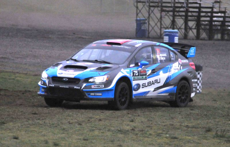 PORTLAND TRIBUNE: JEFF ZURSCHMEIDE - David Higgins and Craig Drew drive their winning Subaru Rally Team USA at the 2018 Oregon Trail Rally.