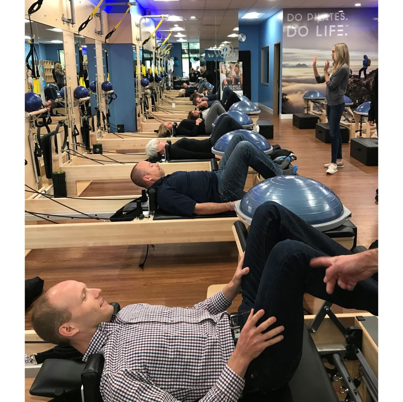 PHOTO COURTESY: JACKLYN PINNA - Local residents participate in the grand-opening demonstrations at Club Pilates new Happy Valley location.