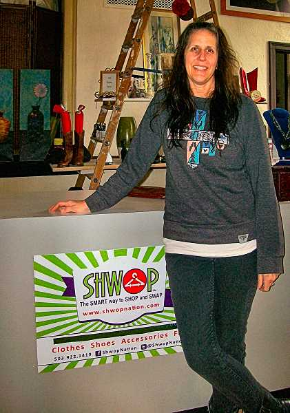 RITA A. LEONARD - Shwop owner Marci Pelletier displays upcycled merchandise in her new Westmoreland showroom.