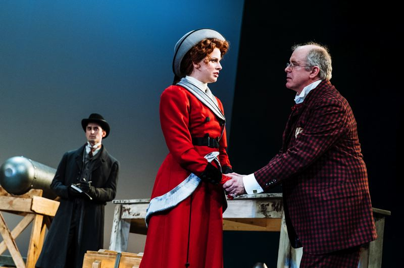 COURTESY: JENNIE BAKER/PCS AT ARMORY - Main characters in 'Major Barbara,' Chris Coleman's final show with Portland Center Stage, are (left to right) Joshua J. Weinstein as Stephen Undershaft, Hanley Smith as Barbara Undershaft and Charles Leggett as Andrew Undershaft.