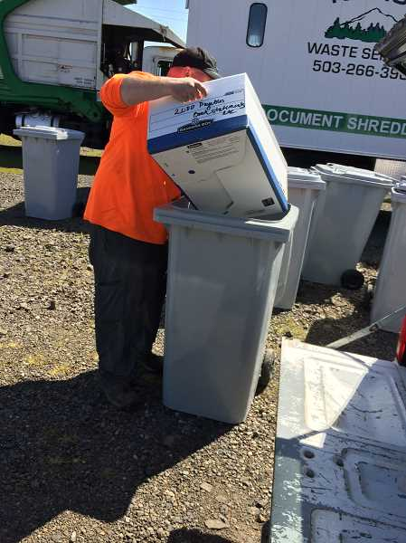 CAROL ROSEN - Sensitive documents and other important papers were brought to Shred-it Day Thursday in Canby.