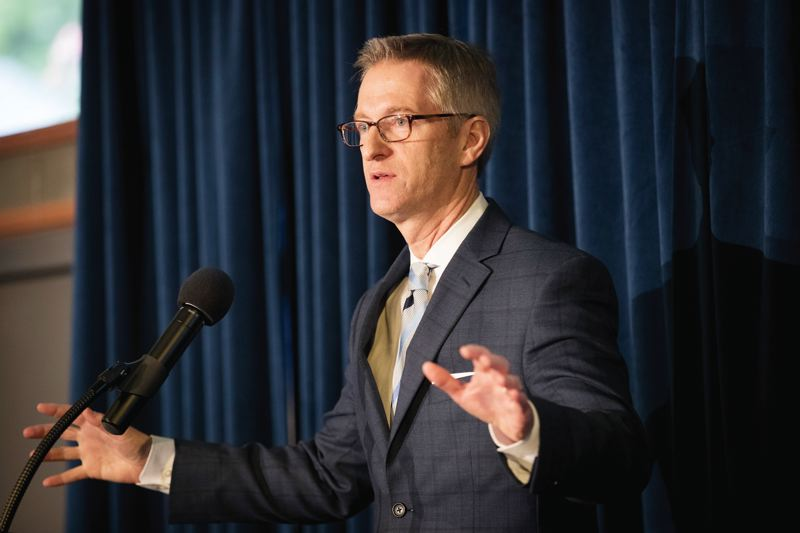 PORTLAND TRIBUNE: JAIME VALDEZ - Mayor Ted Wheeler urged people to vote for the proposed amendment to the Oregon Constitution that will allowed affordable housing bond funds to go further during his State of the City Address.
