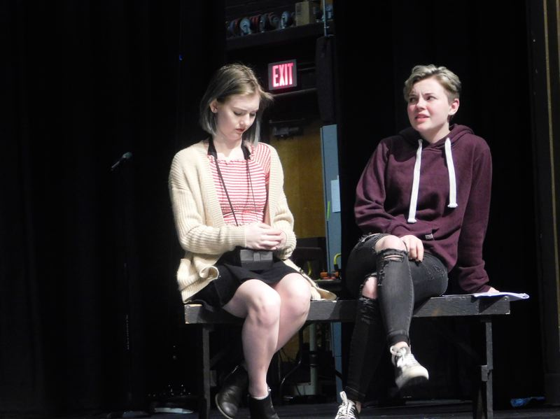 ESTACADA NEWS PHOTO: EMILY LINDSTRAND - Kamryn Tenbush and Alicia James are Evelyn and Sydney in Estacada High Schools production of 'Between the Lines,' written by Ciara Schwimmer.
