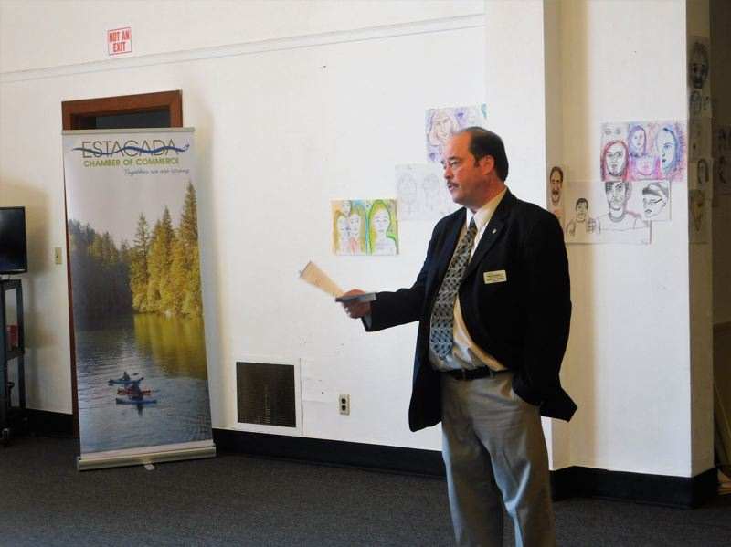 ESTACADA NEWS PHOTO: EMILY LINDSTRAND - Mayor Sean Drinkwine delivered his State of the City address during a meeting of the Estacada Chamber of Commerce on Thursday, April 19.