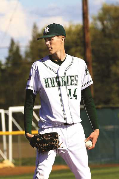 SUBMITTED PHOTO: JO WHEAT - North Marion's Trevor Ensign struck out five batters in six scoreless inning against Philomath in second game of the series.