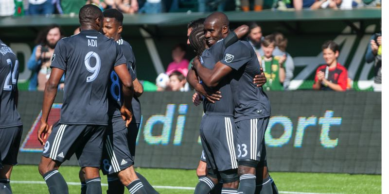 TRIBUNE PHOTO: DIEGO G. DIAZ - Larrys Mabiala (right) got to celebrate his first goal with the Portland Timbers as the home team defeated New York City FC, 3-0, on Sunday at Providence Park.
