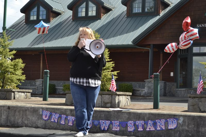 POST PHOTO: BRITTANY ALLEN - Sandi Benfit of Sandy organized the 'Pro 2!' rally in Centennial Plaza on April 21.