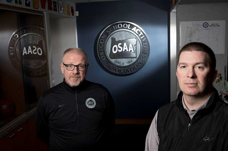 PAMPLIN MEDIA GROUP: JAIME VALDEZ - Peter Weber, executive director of the Oregon School Activities Association (right), and assistant director Brad Garrett say it wasn't until a decade ago that sports officials started getting serious about concussions.