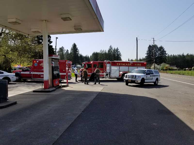 PHOTO COURTESY OF JT - Colton Fire, Molalla Fire, Estacada Fire and Clackamas County Sheriff's Office were on scene in Colton on Wednesday, April 25.
