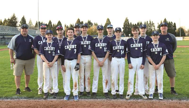 SUBMITTED PHOTO - Canby junior baseball's senior federal team won its first tournament of the season down at McNary, besting Corvallis in the finals.