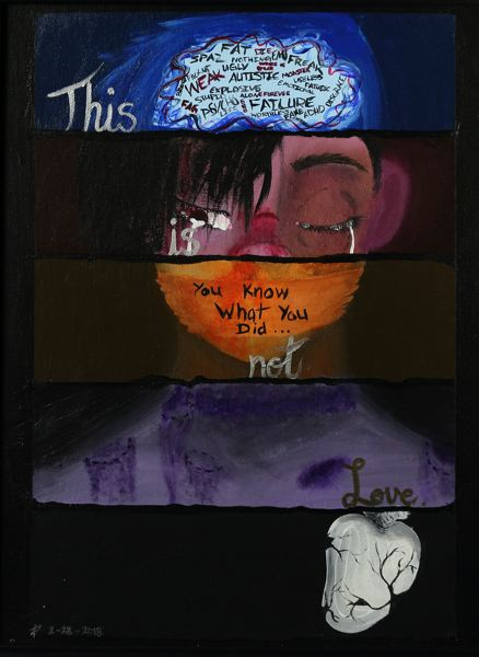 PHOTO COURTESY: MELISSA BURT - Gladstone High School senior Adrian Peterson's 'Not Love' artwork.