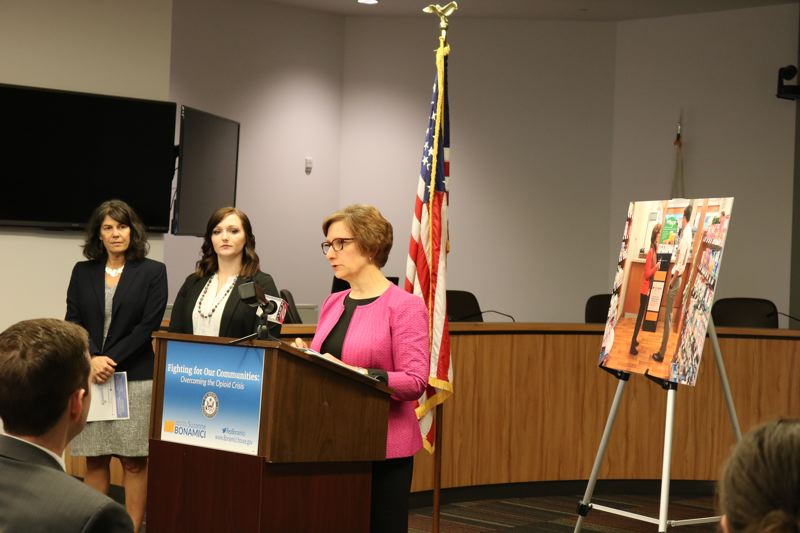 COURTESY U.S. REP. SUZANNE BONAMICI - U.S. Rep. Suzanne Bonamici, center, speaks about her priorities in combating opioid abuse during a presentation Monday, April 23, at The Round in Beaverton. Multnomah County Commissioner Sharon Meieran, left, and Jessica Cardinal of McMinnville also were there.