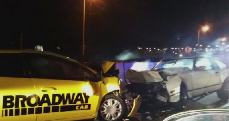 KOIN 6 NEWS PHOTO - Police say the wrong-way driver died after he collided with a Broadway Cab.
