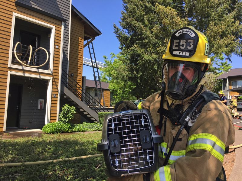 PHOTO: TVF&R - A firefighter rescues a cat from a burning apartment complex.