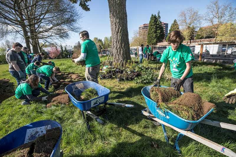 TIMES PHOTO: JONATHAN HOUSE - Volunteers help build a sod couch during Comcast Cares Day at Metzger Elementary.