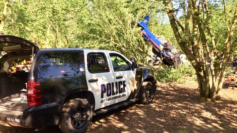 COURTESY PHOTO: WASHINGTON COUNTY SHERIFF'S OFFICE - Emergency responders work to free two people trapped inside a small fixed-wing airplane that crashed near the intersection of Tualatin Valley Highway and 331st Avenue just west of Hillsboro Thursday afternoon.
