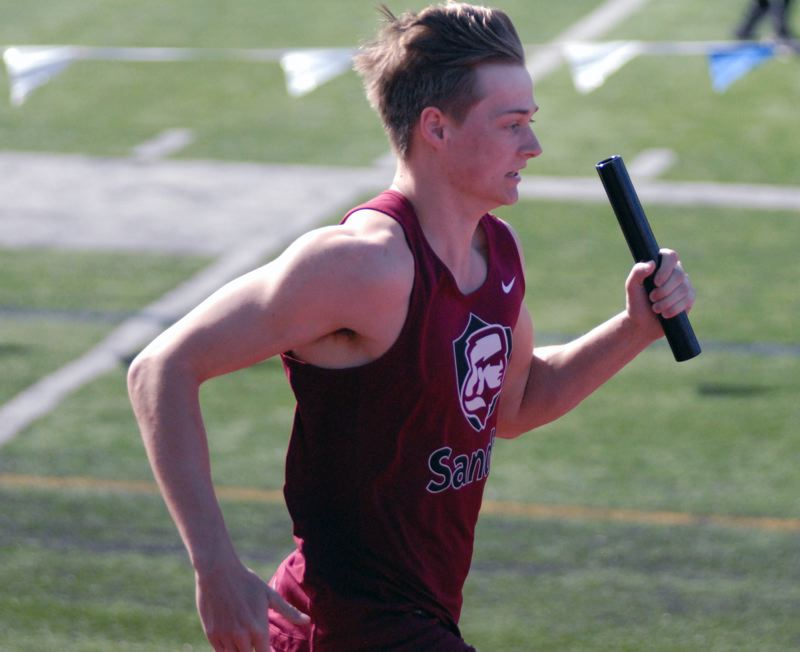 SANDY POST: MATT RAWLINGS - Sandy's Max Shannon runs the final leg of the 4x100 relay.