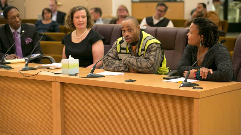 SUBMITTED: MULTNOMAH COUNTY - Laborer apprentice Gregory Roseboro addresses the Board of Commissioners at the March 15 meeting.