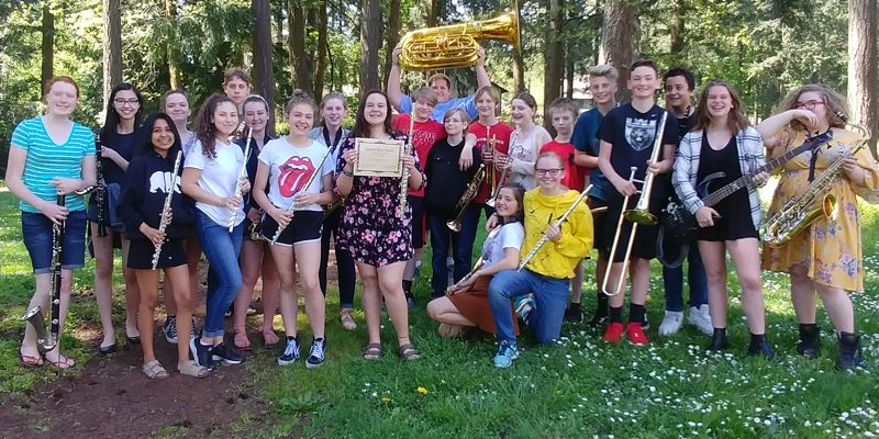 PHOTO COURTESY: LESLIE ROBINETTE - The Kraxberger Band took second place at the Baker Prairie Band festival in a field of 13 competitors.