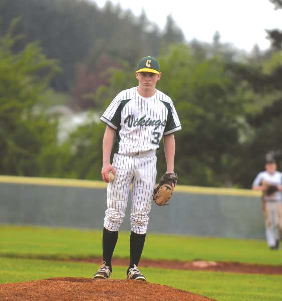 PIONEER PHOTO: TANNER RUSS - TJ Tiano was solid from the mound for Colton, only giving up one run to the Scio Loggers.