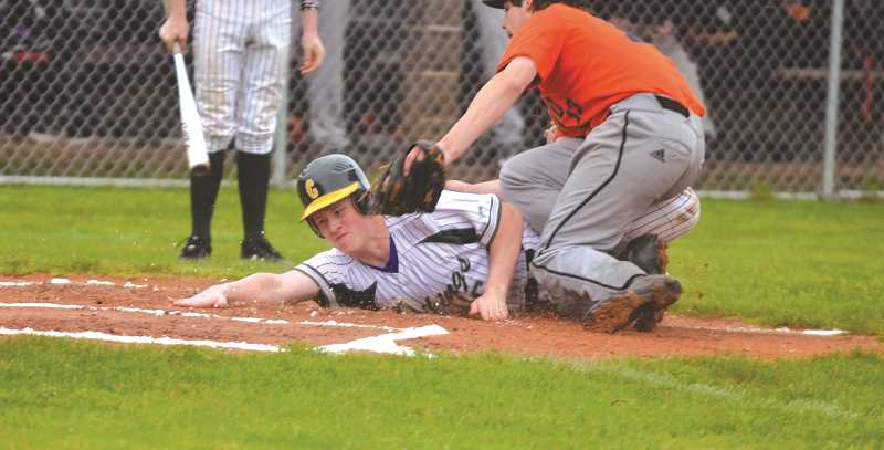 PIONEER PHOTO: TANNER RUSS - Colton scored five runs in its league win over the Scio Loggers on Friday, April 27.