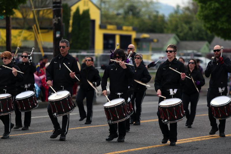 JESSIE DARLAND - Drummers create a beat to march to at the 82nd Avenue Parade of Roses.