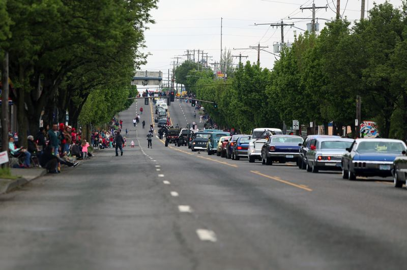JESSIE DARLAND - A line of classic cars brings an end to the annual 82nd Avenue of Roses Parade on Saturday, April 28.