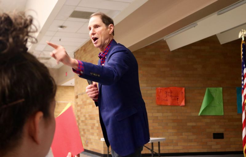 PMG PHOTO: ZANE SPARLING - U.S. Senator Ron Wyden blasted the recently passed Republican tax cuts as offering only 'bread crumbs' to the middle class.