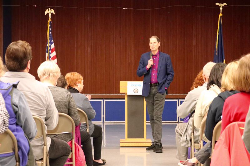 PMG PHOTO: ZANE SPARLING - A crowd of several hundred attended a town hall meeting with Senator Ron Wyden on Saturday, April 28 in Beaverton.