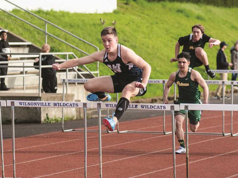 SUBMITTED PHOTO: GREG ARTMAN - Freshman Peyton Dart took first place in the 110- and 300-meters hurdles against Milwaukie.